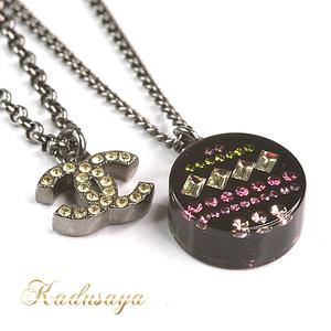 Chanel Kokomaku Rhinestone Necklace 41-46 Cm Double Chain 2 Stations 12 P Stone Drop Off