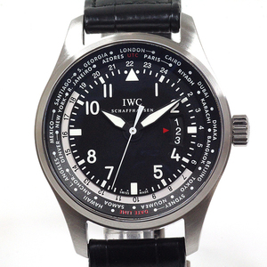 Iwc Men's Automatic Watch Pilot World Timer Iw 326201 Black Dial Maker Oh