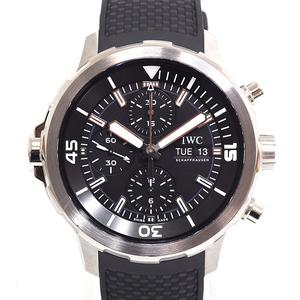 I Wc Iwc Aqua Timer Chronograph Iw 376803 Black Letterboard Rubber Belt Watch