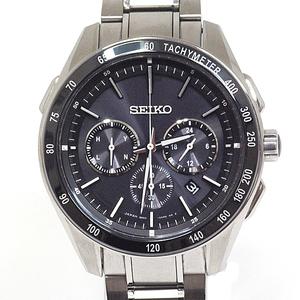Seiko Men's Wrist Watch Brights Saga 171 Solar Radio Chronograph Black Dial B Rack Item