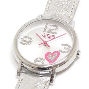 Coach Ladies Quartz Wrist Watch Ca.36.7.14.0420 Silver Dial Leather Strap
