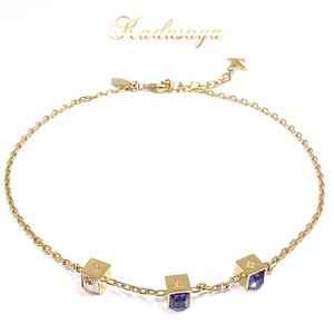 Louis Vuitton Collie · Gambling Necklace M 65096 Metal Swarovski Gold Purple Clear Yellow 42 Cm