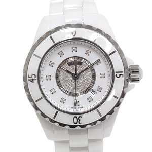 Chanel Chanel Ladies Watch J12 H2123 Center Pave 12p Dial Index White Ceramic