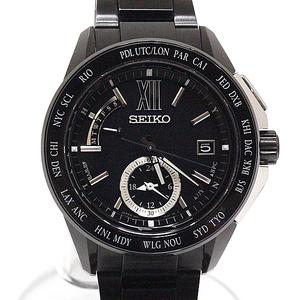Seiko Brights Solar Radio Clock Watch Men's Pvc Black Saga 113 8b54-0ak0b Rank Small Wound