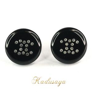 Chanel Coco Mark Button Earrings Clear Rhinestone Black In Translation Used
