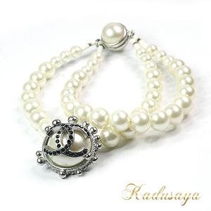 Chanel Coco Mark Charm Fake Pearl Double Strap Bracelet 02c Silver Hardware