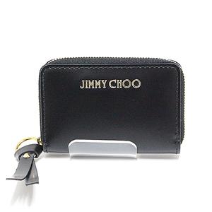 Jimmy Choo Round Fastener Coin Case Reid Sbk Black