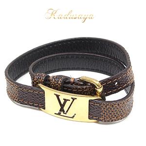 Louis Vuitton Brassle · Signature Damier Ebene Leather Bracelet M6623e Brown Gold Hardware