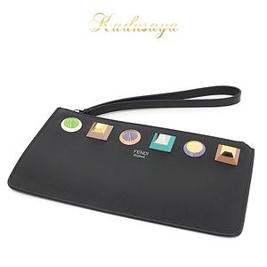 Fendi Flat Clutch Leather Acrylic Resin Black Multi Color 8m0341