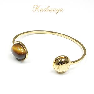 Louis Vuitton Lv Stone Rigid Bracelet Bangle M00245 S Size Metal Tiger Eye Gold Brown Series