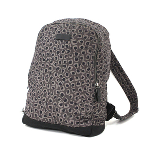 Gucci Leopard Print Backpack Rucksack Canvas Leather Gray Black 353476 Used A Rank