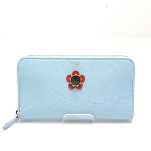 Fendi Crayons Round Zipper Long Wallet 8m0299 Sky Blue