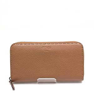 Fendi Celia Round Zipper Long Wallet 8m0299 Brown Calfskin