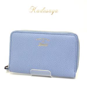 Gucci Swing Leather Zip Around Wallet Round Zipper Medium Size Light Blue 354497