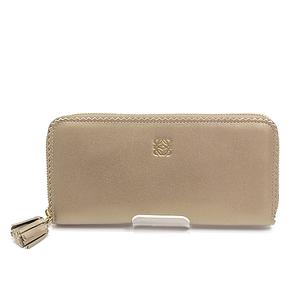 Loewe Nappa Round Zipper Long Wallet 182.81.f13 Summer Gold In Translation