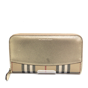 Burberry Round Fastener Long Wallet Hose Ferry Check 3982455