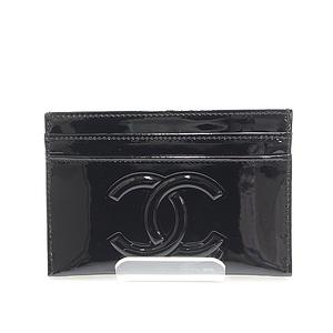 Chanel Coco Mark Camellia Patent Leather Card Case A46075 Black