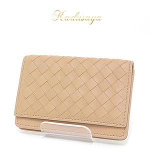 Bottega Veneta Bottega · Veneta Intorechato Vn Card Case Beige Folding 174646 Business Holder