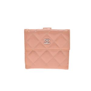 シャネル(Chanel) マトラッセ ガールズ,レディース パテントレザー 札入れ(二つ折り) ベビーピンク