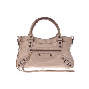 Balenciaga Fast Women's Leather Handbag Beige Pink
