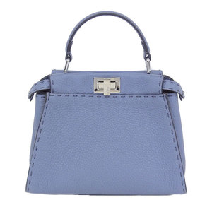 Fendi Celia Mini Peekaboo 2 Way Shoulder Bag Blue Gray