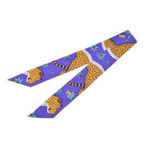 Hermes Scarf Animal Purple Twilly Les Leopards