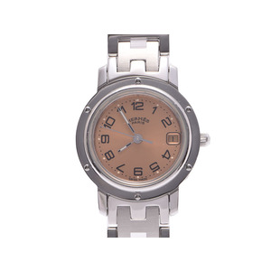 Used Hermes Clipper Cl 4.210 Pink Dial Ss Quartz Ladies Watch