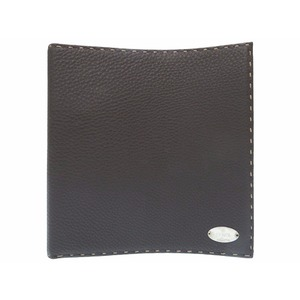 Fendi Celia Ring File Stationery Leather Brown 0070