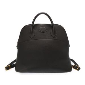Hermes Boledo Ad Togo Black □ A Stamped Rucksack Bag 0240