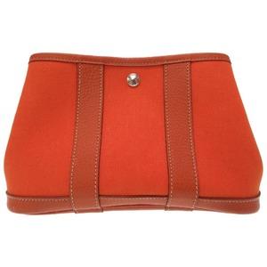 Hermes Garden Party Ttpm Pouch Toile Officier Orange □ J Engraved Cosmetic 0455