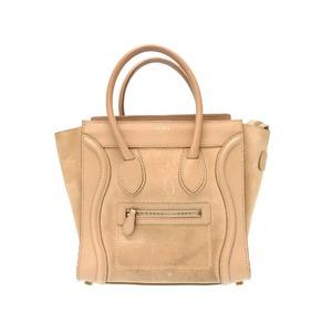 Celine Luggage Micro Shopper Handbag Leather Beige 0287 Ladies'