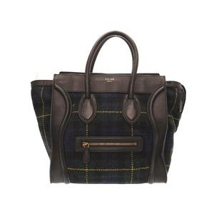 Celine Mini Shopper Tartan Check Leather Wool Black Navy Handbag Bag 0306