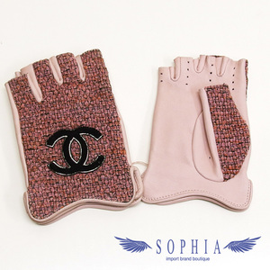 Chanel Coco Mark Leather Gloves Size 7 Pink