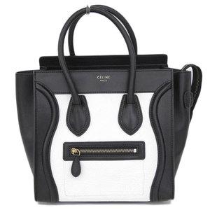 Celine Luggage Micro Shopper Handbag White X Black 167793 Bag