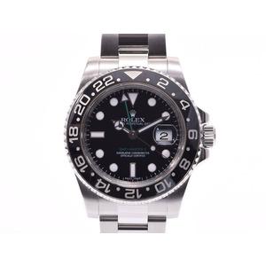 腕時計  ロレックス GMTマスター2 116710 スティックダイヤル V番 SS 黒文字盤 黒ベゼル ROLEX