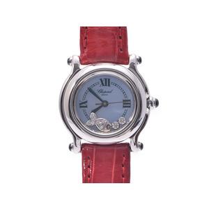 腕時計  ショパール ハッピースポーツ SS 革 3Pダイヤ シェル文字盤 クォーツ CHOPARD
