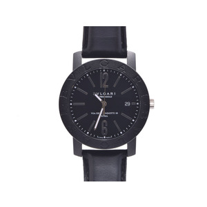 Wristwatches Bvlgari Bb 40 Cl Carbon Leather Reverse Scales Black Letter Board Boxes Galla