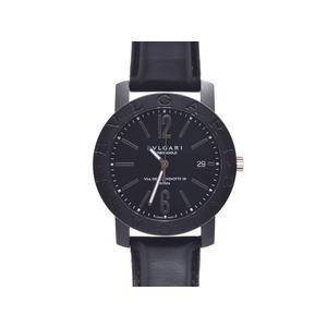 腕時計  ブルガリ ブルガリブルガリ BB40CL カーボン 革 裏スケ 黒文字盤 箱 ギャラ BVLGARI