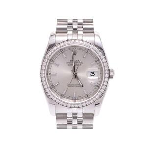 腕時計  ロレックス デイトジャスト116244 V番 SS WG ベゼルダイヤ 自動巻 箱 ギャラ ROLEX