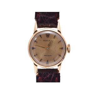 腕時計  ロレックス 9168 プレジション アンティーク K18/革 シャンパン文字盤 手巻き ROLEX