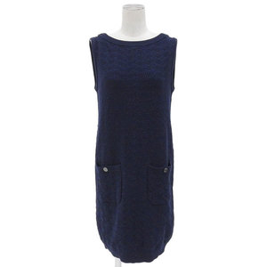 Chanel Knit One Piece Sleeveless Dark Blue 36 Spring And Summer