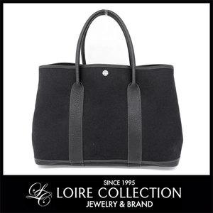 Hermes Hermes Towel × Leather Garden Party Pm Tote Bag Black □ I Stamp