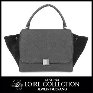 Celine Celine Trapez Leather Suede 2 Way Hand Shoulder Bag Black