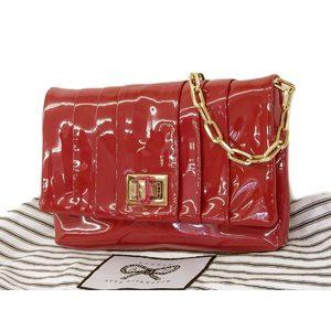 Anya Hindmarch Enamel Turnlock Clutch Bag Chain Shoulder Red Bordeaux