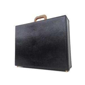 Hermes Box Calf Espas Travel Bag Documents Black O N Engraved