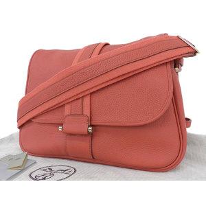 Hermes Triyon Clemence Pool Lang Shoulder Bag Rose Jaipur Sangerine □ R