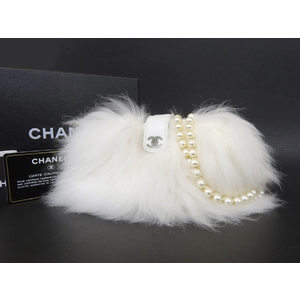Chanel Coco Mark Fur Mini Shoulder Bag Pochette Fake Pearl White