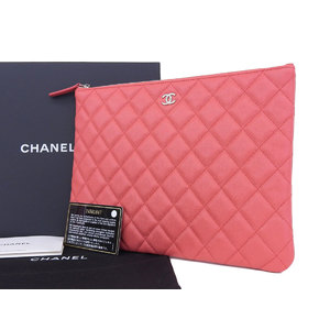 Chanel 24 Series Coco Mark Caviar Skin Matrasse Clutch Bag Party Pouch Pink