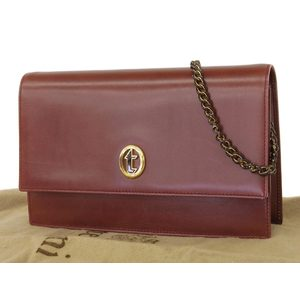 A.testoni A Testoni Leather Logo Metal Fittings Chain Shoulder Bags Pochette Accessories Pouch Clutch Brown Type