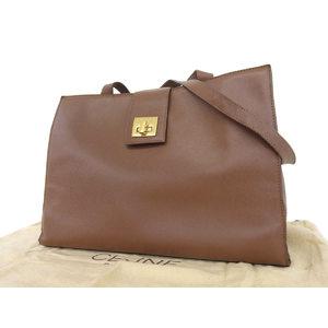 Celine Vintage Shoulder Bag Turn Lock Leather Dark Brown